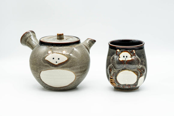 Japanese Tea Set - Tanuki Raccoon Dog Kyusu and Yunomi