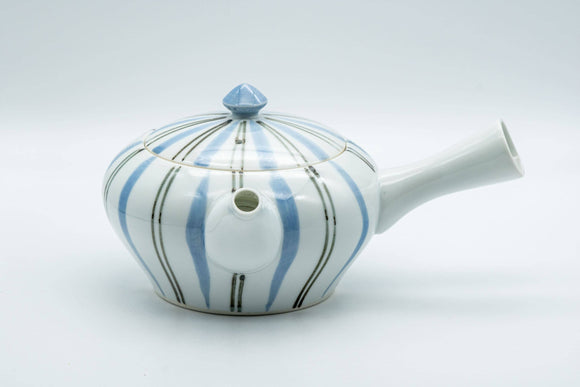 Japanese Kyusu - Blue Striped Arita-yaki Debeso Teapot - 300ml