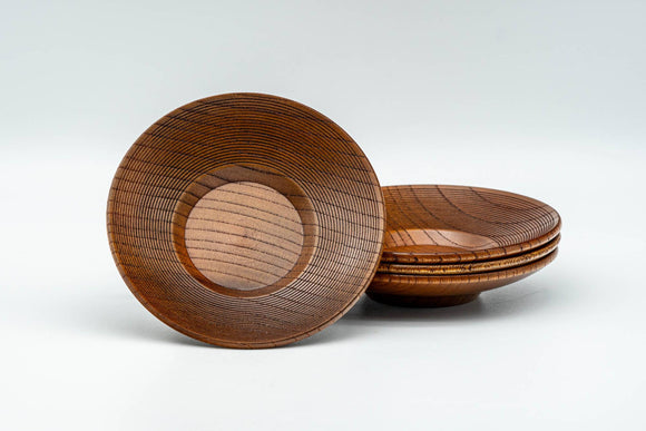 Japanese Chataku - Set of 4 Spiraling Wooden Tea Saucers