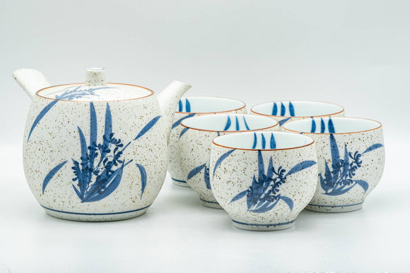 Japanese Tea Set - Blue Floral White Matte Glazed Arita-yaki Debeso Kyusu Teapot and 5 Yunomi Teacups