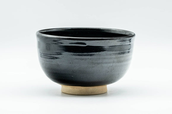Japanese Matcha Bowl - Jet Black Glazed Hantsutsu-gata Chawan - 350ml