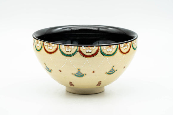 Japanese Matcha Bowl - Sakura Cherry Blossoms Geometric Black Inner-Glazed Kyo-yaki Chawan - 250ml