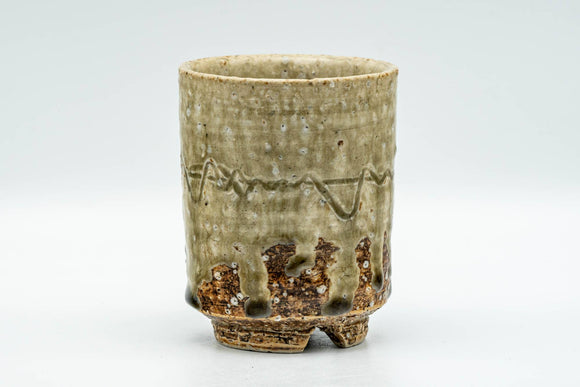Japanese Teacup - Large Textured Green Drip-Glazed Yunomi - 200ml