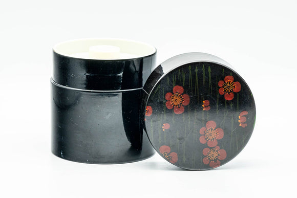 Japanese Chazutsu - Red Blossoms Black Plastic Tea Canister - 300ml