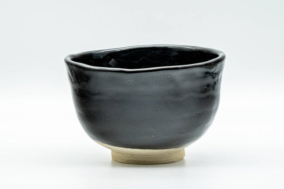 Japanese Matcha Bowl - Jet Black Glazed Wabi-Sabi Chawan - 350ml