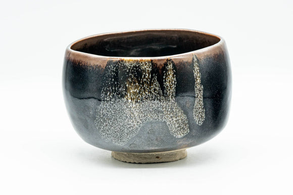 Japanese Matcha Bowl - 久 Black Brown Hare's Fur Glazed Wa-nari Chawan - 350ml
