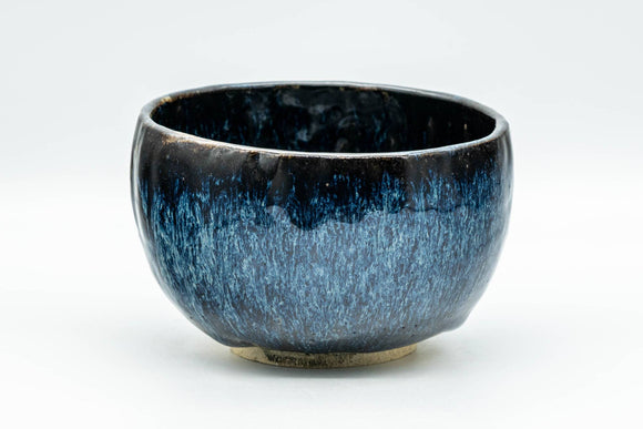 Japanese Matcha Bowl - Black and Blue Drip-Glazed Wabi-Sabi Chawan - 300ml