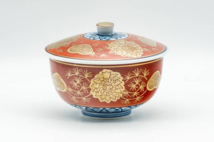 Japanese Teacup - Red, Blue, and Gold Floral Geometric Arita-yaki Lidded Yunomi - 160ml