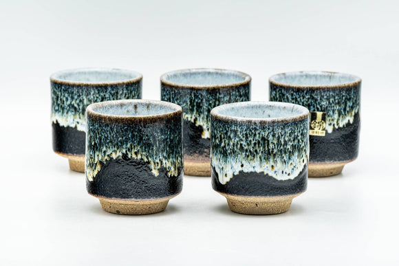 Japanese Teacups - Set of 5 Jet Black Blue Drip-Glazed Yunomi - 80ml