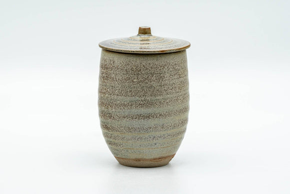 Japanese Teacup - Speckled Olive Green Spiraling Lidded Yunomi - 125ml