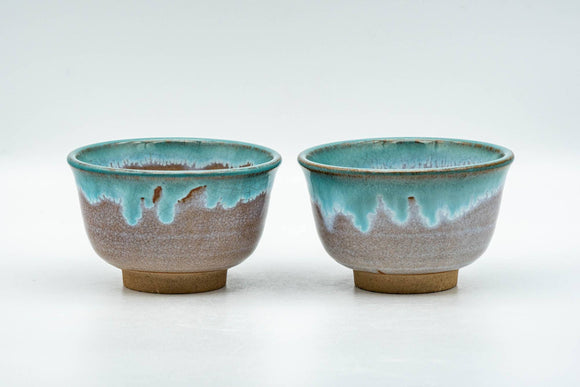 Japanese Teacups - Pair of Brown Turquoise Drip-Glazed Agano-yaki Yunomi  - 100ml