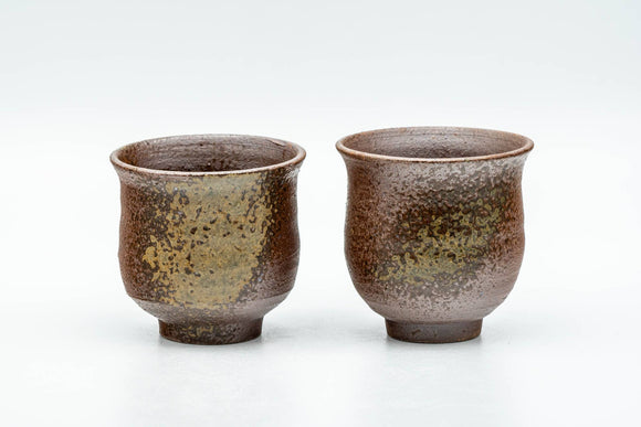 Japanese Teacups - Pair of Ash Green Glazed Guinomi - 55ml