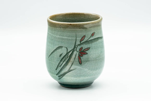 Japanese Teacup - Floral Green Celadon Glazed Yunomi - 180ml