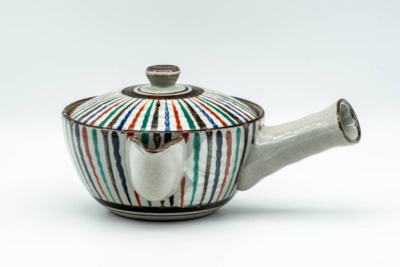 Japanese Kyusu - Multi-Coloured Stripes Do-ake Triangular-Spouted Teapot - 275ml