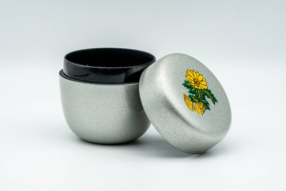 Japanese Natsume - Silver Floral Lacquered Matcha Tea Caddy - 100ml