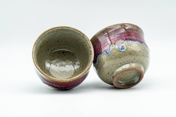 Japanese Teacups - Pair of Blue Purple Drip-Glazed Yunomi - 90ml