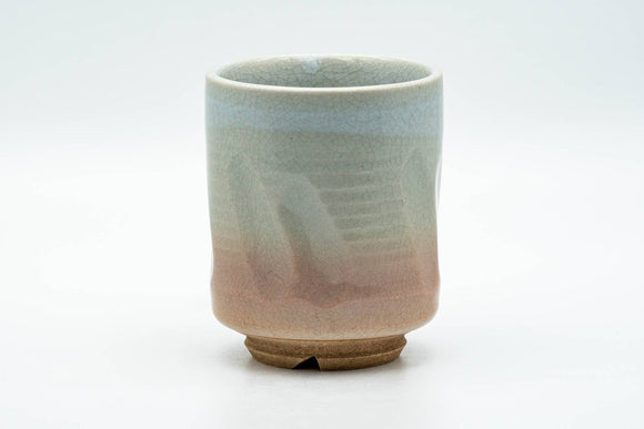 Japanese Teacup - Carved Beige Peach Glazed Hagi-yaki Yunomi - 200ml