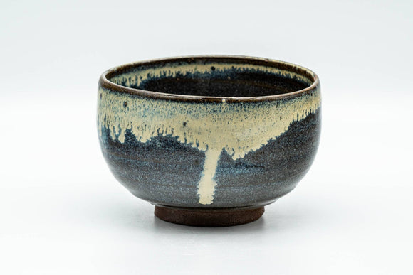 Japanese Matcha Bowl - Black Beige Drip-Glazed Wabi-Sabi Chawan - 300ml