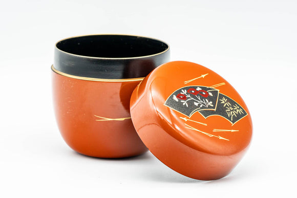 Japanese Natsume - Orange Gold Floral Lacquered Matcha Tea Caddy - 100ml