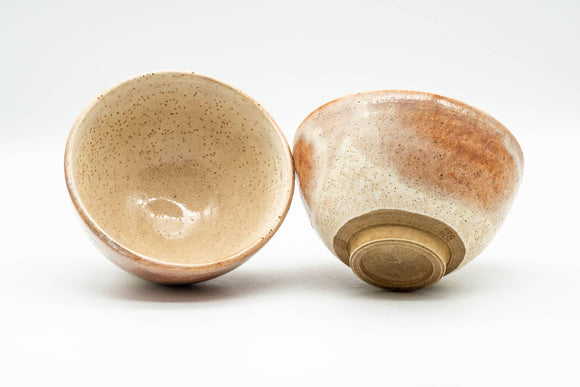 Japanese Teacups - Pair of Blush Orange and White Shino Glazed Yunomi - 120ml