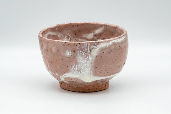 Japanese Matcha Bowl - Pink and White Shino Glazed Wabi-Sabi Chawan - 300ml