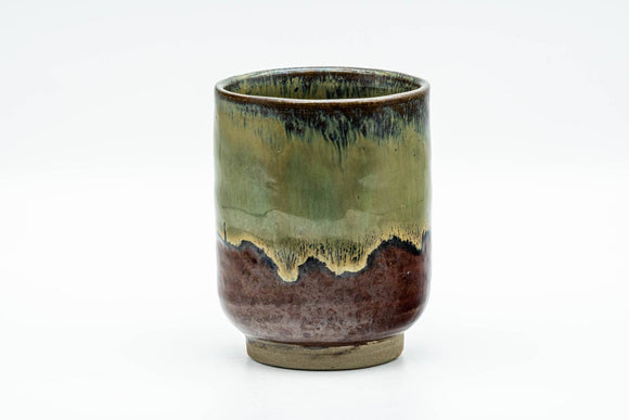 Japanese Teacup - Brown Green Hare's Fur Drip-Glazed Yunomi - 160ml