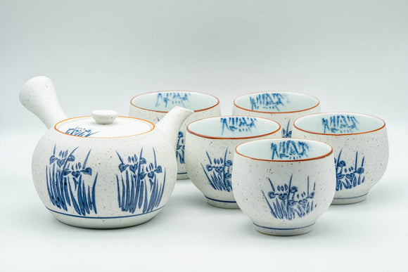 Japanese Tea Set - Blue Floral White Matte Glazed Arita-yaki Debeso Kyusu Teapot with 5 Yunomi Teacups