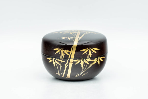 Japanese Natsume - Black Lacquer Golden Bamboo Matcha Tea Caddy - 50ml