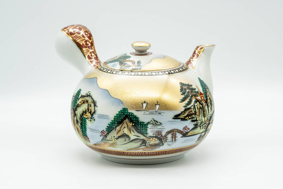 Japanese Kyusu - Golden Mountainous Village Kutani-yaki Debeso Teapot - 450ml