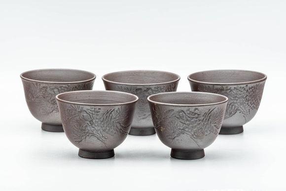 Japanese Teacups - Set of 5 Floral Engraved Banko-yaki Yunomi - 70ml