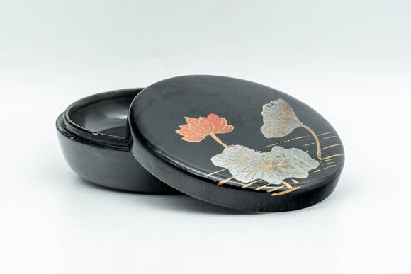 Japanese Incense Kogo - Floral Black Lacquer Container - 15ml