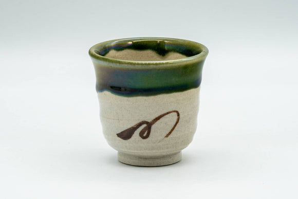 Japanese Teacup - Beige Green Drip-Glazed Geometric Oribe-yaki Yunomi - 70ml