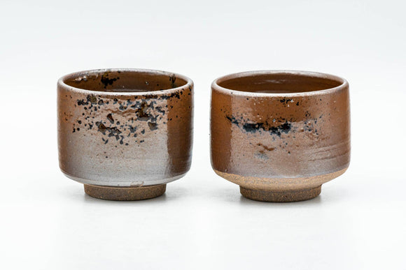 Japanese Teacups - Pair of Ash Brown Glazed Yunomi - 90ml