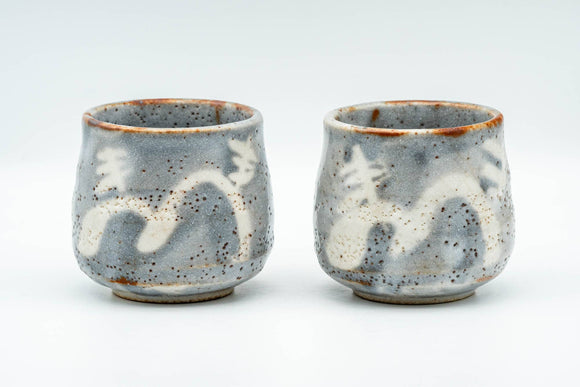 Japanese Teacups - Pair of Blue White Shino Glazed Yunomi - 150ml