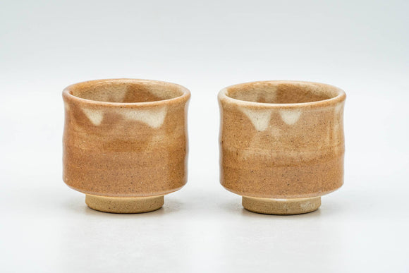 Japanese Teacups - Pair of Milky Beige Drip-Glazed Hagi-yaki Guinomi - 50ml