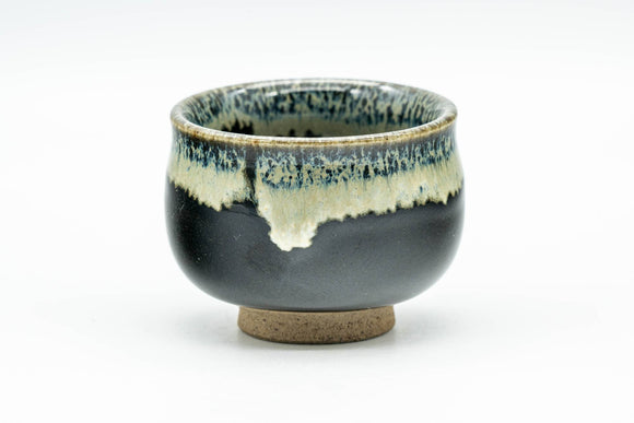 Japanese Teacup - Jet Black Hare's Fur Drip-Glazed Guinomi - 35ml