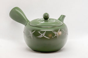 Japanese Kyusu - Green Tokoname Ceramic Teapot with Mesh Strainer - White Clay Mishima Inlay 290ml - Tezumi