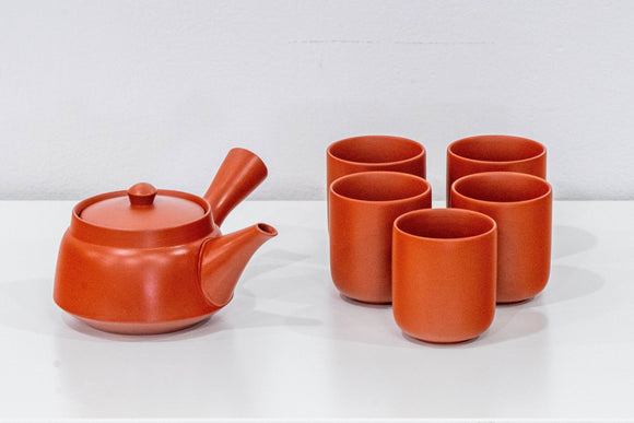 Japanese Tea Set - Red Shudei Tokoname-yaki Debeso Kyusu with 5 Teacups - Tezumi