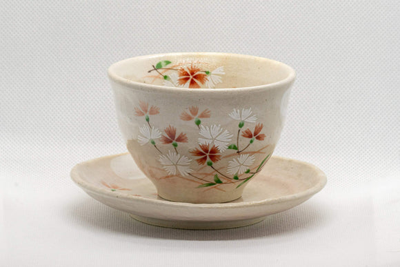 Japanese Teacups - Pair of Beige Floral Yunomi with Saucers - 150ml