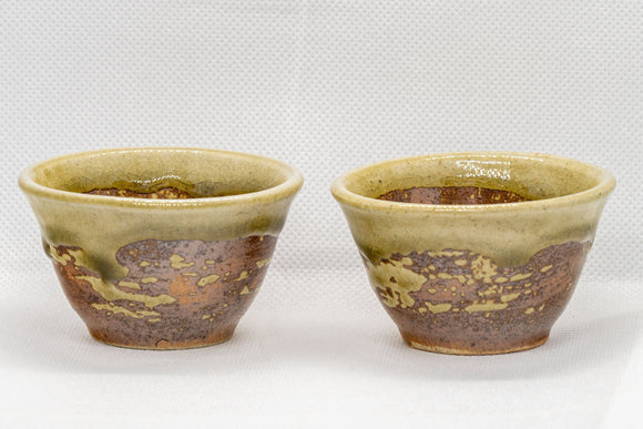 Japanese Teacups - Pair of 香山 Bizen-yaki Senchawan - 55ml