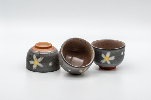Japanese Teacups - Set of 3 Floral Guinomi - 45ml