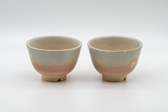 Japanese Teacups - Tsubaki Kiln (椿窯, 天鵬山) Pair of Hagi-yaki Senchawan - 95ml