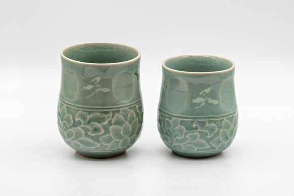 Japanese Teacups - Couple's Pair of Ishiyama Celadon Dojimari-gata Yunomi - 165ml - Tezumi