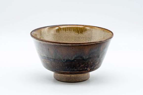 Japanese Matcha Bowl - Crazed and Mottled Drip Glazed Chawan - 350ml