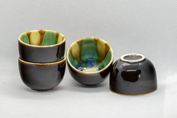 Japanese Teacups - Set of 4 Black Guinomi - 30ml