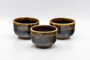Japanese Teacups - Set of 3 Drip Glazed Yunomi - 120ml