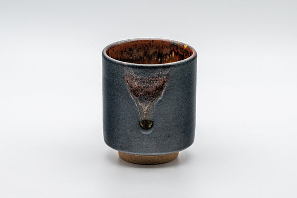 Japanese Teacup - Matte Black Drip Glazed Tsutsu-gata Yunomi - 155ml