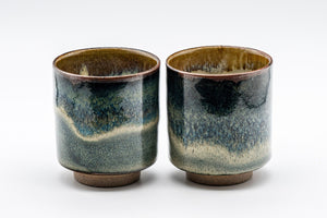Japanese Teacups - Pair of Blue-Green Hare's Fur Glaze Tsutsu-gata Yunomi - 150ml