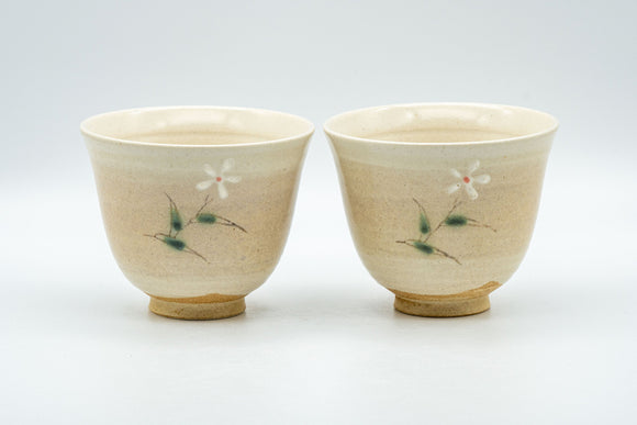 Japanese Teacups - Pair of 橘吉 Tachikichi Floral Yunomi - 125ml
