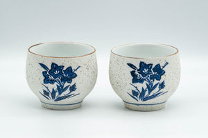 Japanese Teacups - Pair of White and Blue Floral Yunomi - 150ml
